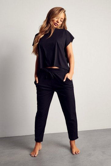 Womens Black Bandage Boxy Lounge Set