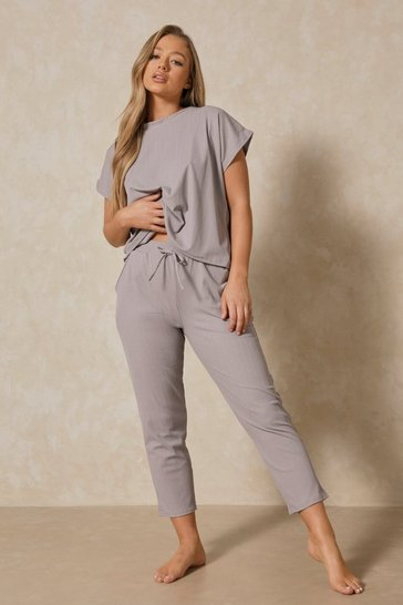 Womens Grey Bandage Boxy Lounge Set