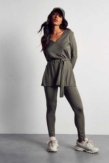 Womens Khaki Ribbed Tie Front Lounge Set