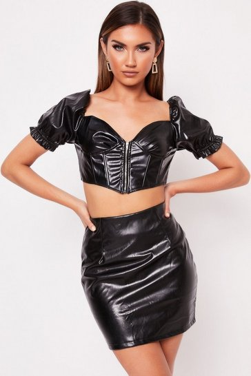 Womens Black PU Milkmaid Crop Skirt Co-ord
