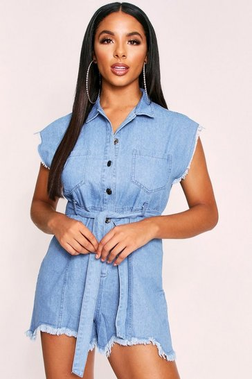 Womens Blue Denim Belted Playsuit