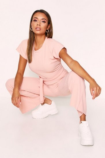 Blush Pink Ribbed Cropped Lounge