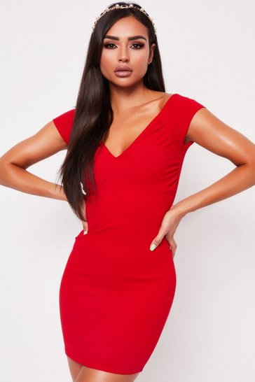 Womens Red Ruched Front Bardot Mini Dress