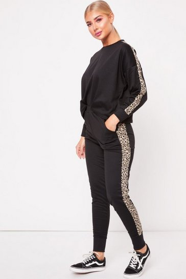 Womens Black Leopard Stripe Loungewear Set