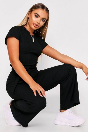 Womens Black Ribbed Tie Front Cropped Lounge Set