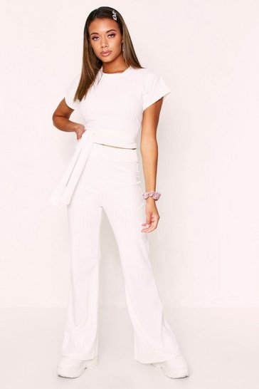 Womens White Ribbed Tie Front Cropped Lounge Set