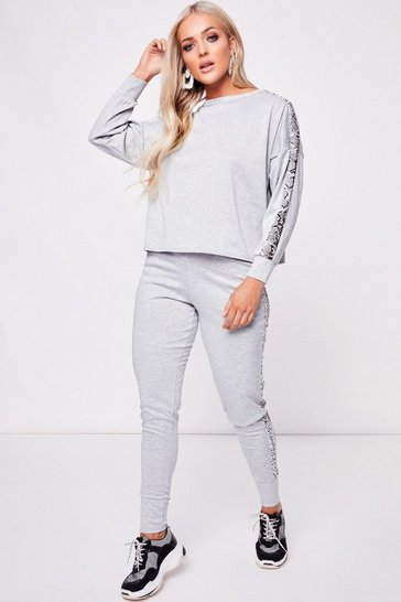 Womens Grey Snake Side Stripe Loungewear Set