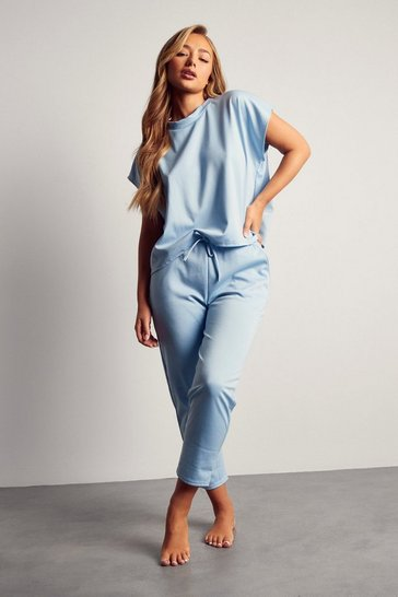 Blue Short Sleeve Boxy Loungewear Set