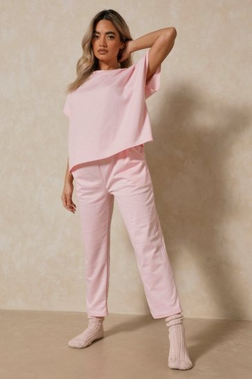 Blush Short Sleeve Boxy Loungewear Set