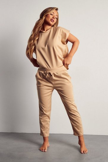 Womens Camel Short Sleeve Boxy Loungewear Set