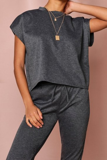 Charcoal Short Sleeve Boxy Loungewear Set