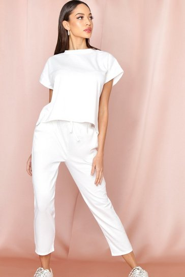Womens Cream Short Sleeve Boxy Loungewear Set