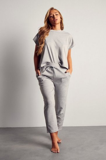 Grey Short Sleeve Boxy Loungewear Set