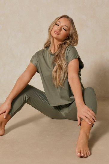 Womens Khaki Short Sleeve Boxy Loungewear Set