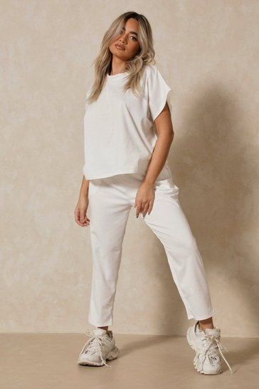 Off white Short Sleeve Boxy Loungewear Set