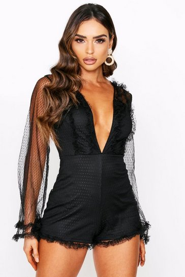 Black Dobby Organza Flared Sleeve Playsuit