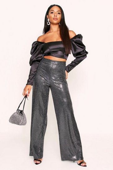 Womens Silver Sparkle High Waist Wide Leg Trousers