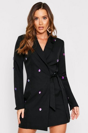 Black Embellished Wrap Blazer Dress