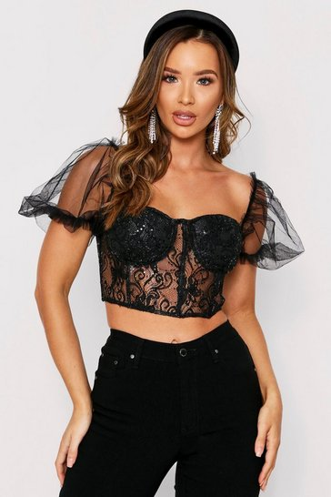 Black Sequin Lace Puff Sleeve Crop