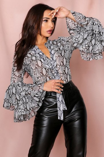 Grey Sheer Snake Print Ruffle Sleeve Blouse