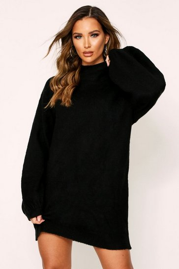 Womens Black Balloon Sleeve Oversized Jumper Dress