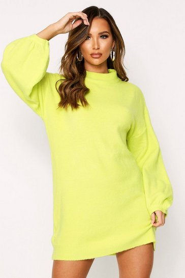 Womens Lime Balloon Sleeve Oversized Jumper Dress