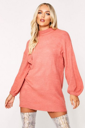 Rust Balloon Sleeve Oversized Jumper Dress