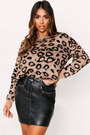 Womens Camel Leopard Print Fluffy Knit Jumper