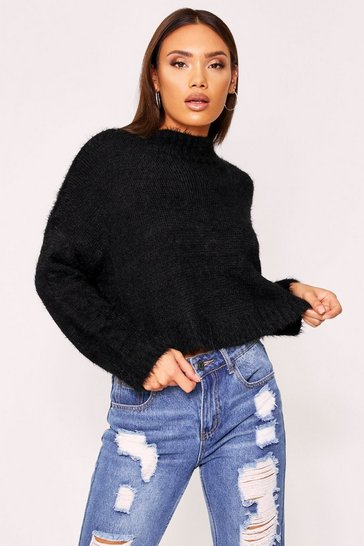 Black Turtle neck fluffy knit cropped jumper