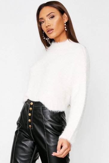 Cream Turtle neck fluffy knit cropped jumper