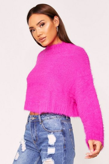 Womens Fushia Turtle neck fluffy knit cropped jumper