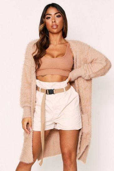 Womens Camel Fluffy Knit Longline Cardigan