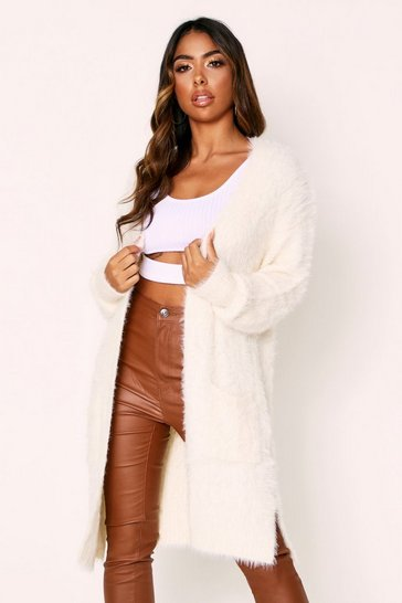 Womens Cream Fluffy Knit Longline Cardigan