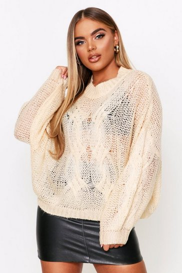 Womens Cream Mohair Look Oversized Cable Knit Jumper