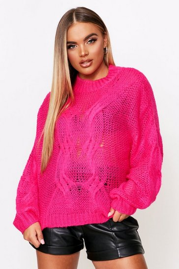 Womens Fushia Mohair Look Oversized Cable Knit Jumper