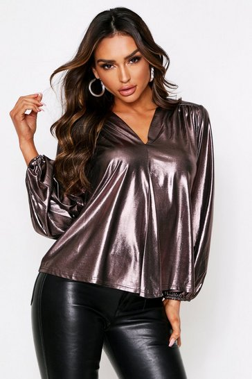 Womens Silver Balloon Sleeve Metallic Oversized Shirt