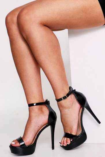 Womens Black Metallic Platform Heels