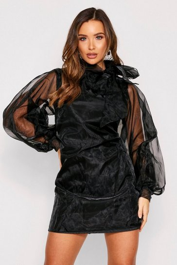 Black Organza Oversized Pussybow Shift Dress