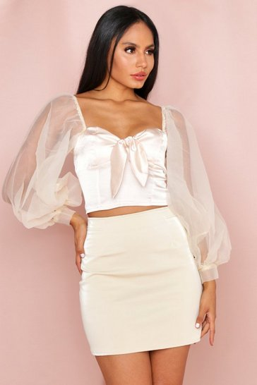 Champagne Organza Sleeve Satin Crop Top