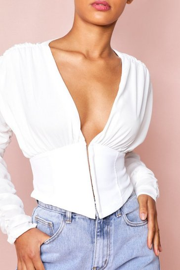 Ivory Corset Style Long Sleeve Top
