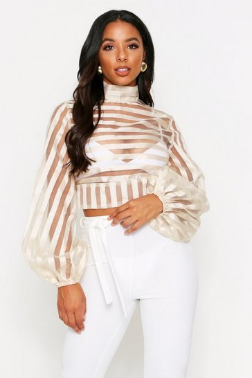 Nude Burn Out Stripe Open Back Top