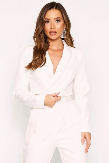White Diamante Trim Cropped Blazer