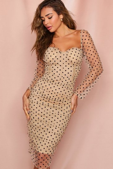 Camel polka dot mesh cupped midi dress