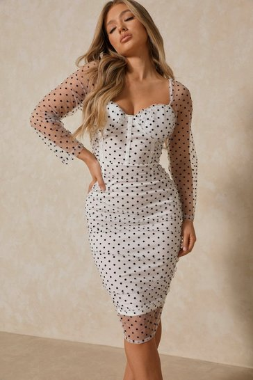 White polka dot mesh cupped midi dress