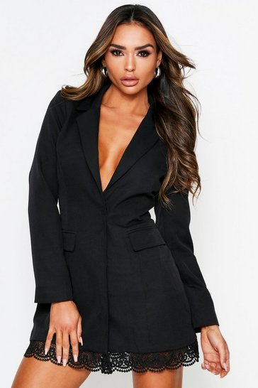 Womens Black Lace Hem Blazer Dress
