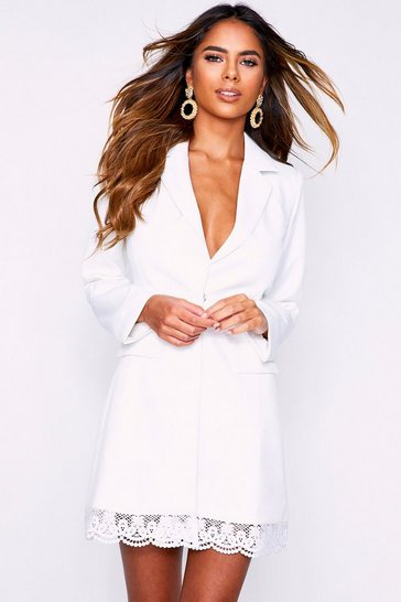 Womens White Lace Hem Blazer Dress