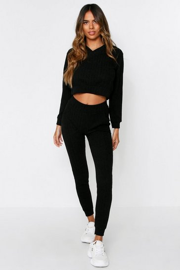 Womens Black V Neck Rib Loungeset With Pant