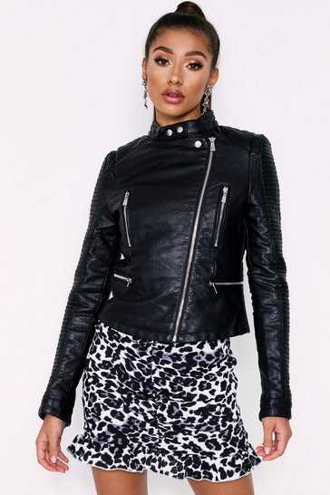 Womens Black PU Biker Jacket