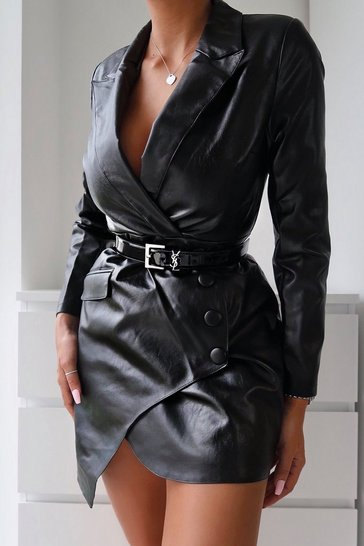Womens Black PU Button Pocket Detail Blazer Dress
