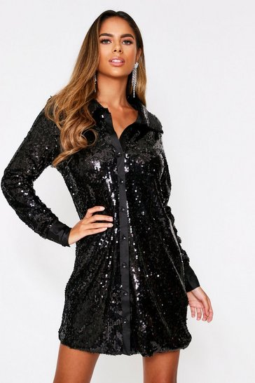 Womens Black Full Sequin Satin Trim Oversize Shirt Dress